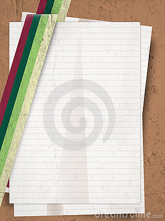 Retro gungre stack of paper sheets