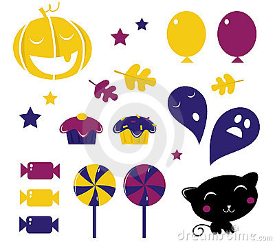 Retro Halloween icons isolated on white