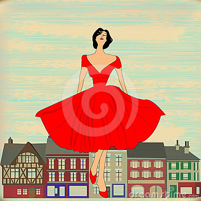 Retro Happy, Girl in red 1950 s style dress
