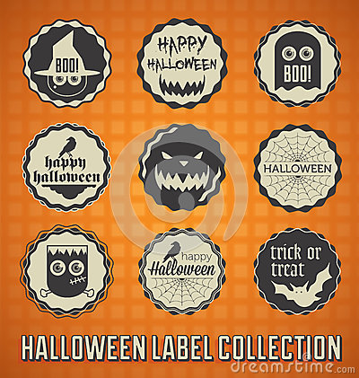 Retro Happy Halloween Labels and Icons
