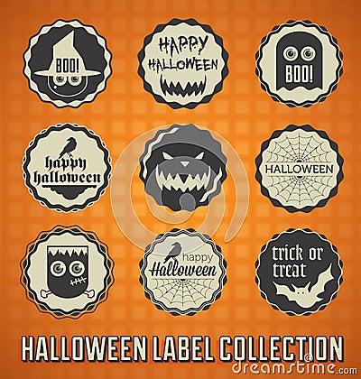 Retro Happy Halloween Labels and Icons