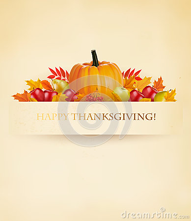 Retro Happy Thanksgiving Background. Vector Illustration