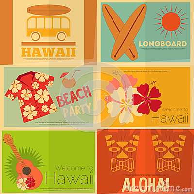 Free Retro Hawaii Posters Collection Royalty Free Stock Photos - 54732708