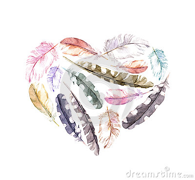 Free Retro Heart - Bird Feathers. Vintage Watercolor Royalty Free Stock Photography - 84282877