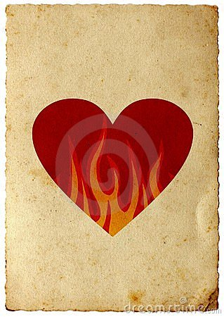 Retro heart in flames