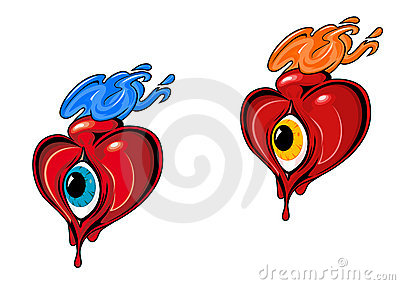 Retro hearts with eye