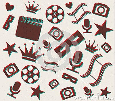 Retro- Hintergrund des Kinos 3d