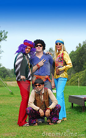 Retro hippie party group