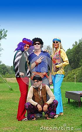 Free Retro Hippie Party Group Stock Photos - 3377353