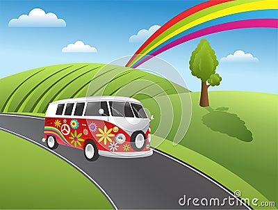 Retro Hippie Van Stock Image - Image: 20859471