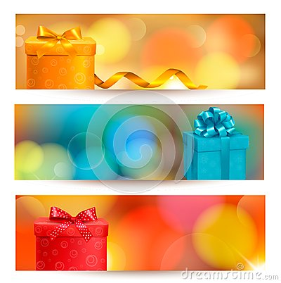 Retro holiday background with blue gift ribbon wit