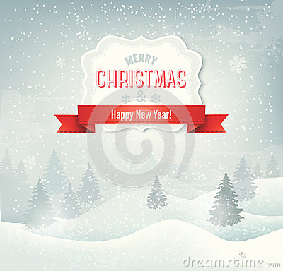 Retro holiday christmas background with winter lan