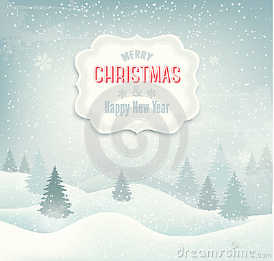 Free Retro Holiday Christmas Background With Winter Lan Stock Photo - 35533150