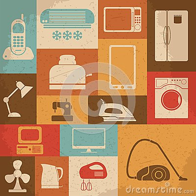 Free Retro Home Appliances Icons. Vector Illustration Royalty Free Stock Image - 49256746