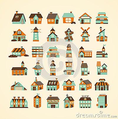 Retro house icon set
