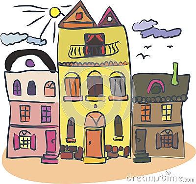 Retro houses in vector