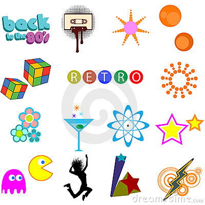Retro icons vector pack
