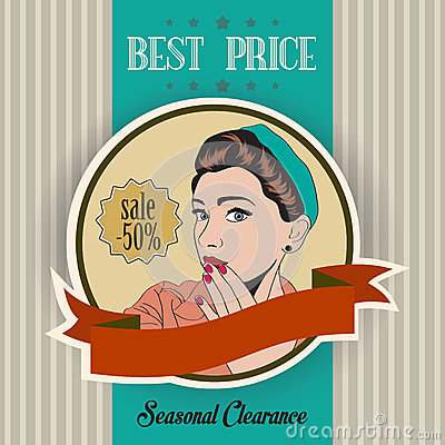 Retro illustration of a beautiful woman and best price message