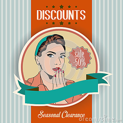 Retro illustration of a beautiful woman and discounts message