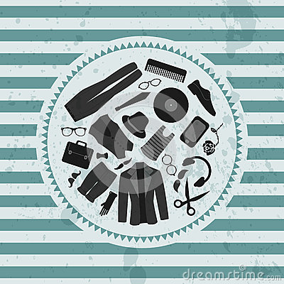 Retro illustration hipster style clothing & accessories