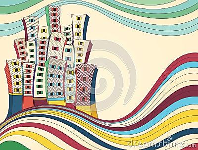 Retro illustrazione di vettore della città