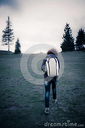 Retro image of a woman hiker