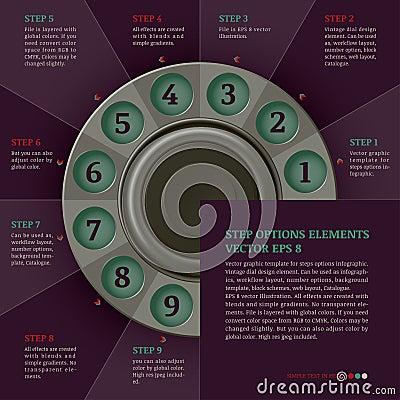 Retro infographics design template (steps or options)
