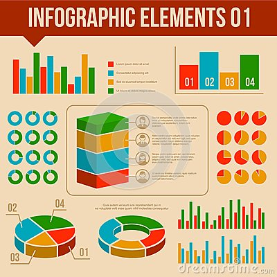 Retro Infographics Elements Set. Information and