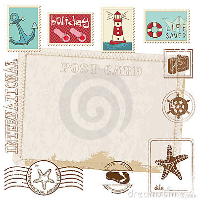 Free Retro Invitation Postcard With SEA Stamps Stock Photography - 22183162