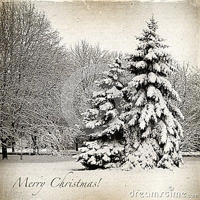 Retro karta z bożymi narodzeniami, zima krajobraz