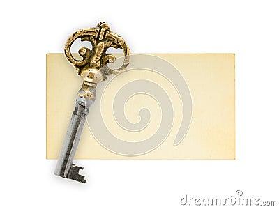 Retro key on paper card