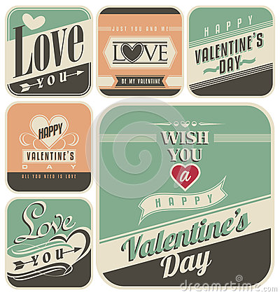 Free Retro Labels For Valentines Day Royalty Free Stock Photo - 36666955