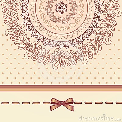 Retro lace and bow template card