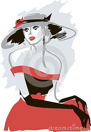Retro lady in a hat