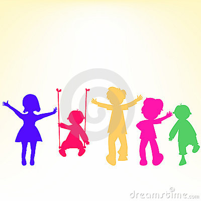 Retro little kids silhouettes over shiny