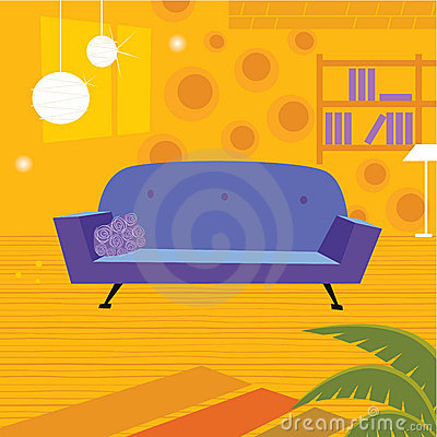Retro living room in retro style