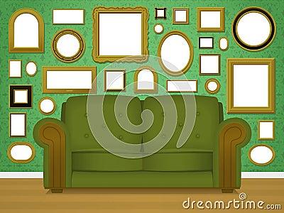 Retro livingroom interior