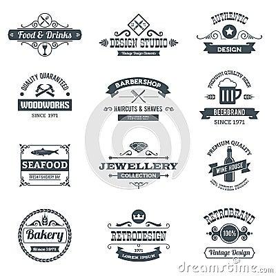 Free Retro Logo Set Royalty Free Stock Photos - 47720788