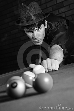 Free Retro Male Shooting Pool. Royalty Free Stock Images - 2044629