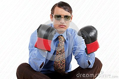 Retro Male Wearing Boxing Gloves