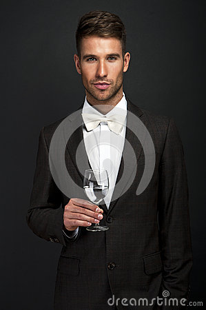 Free Retro Man With A Glass Stock Image - 35202411