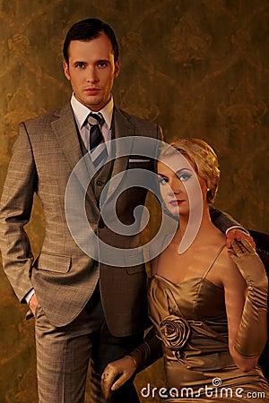 Retro man and woman