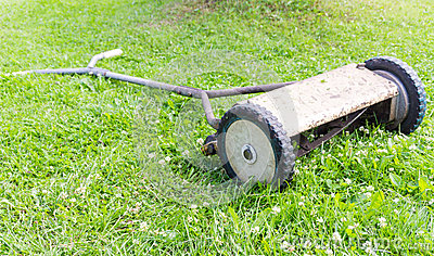 Retro manual lawnmower