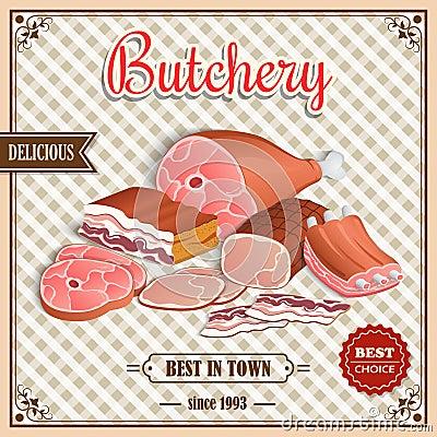 Free Retro Meat Poster Royalty Free Stock Photos - 45142078