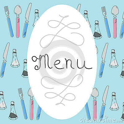 Retro Menu Design with hand drawn lettering. Flat Vector Stock Photo