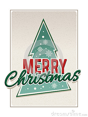 Retro merry christmas typography