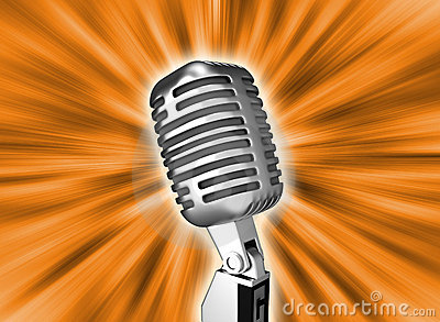 Retro metal microphone over background