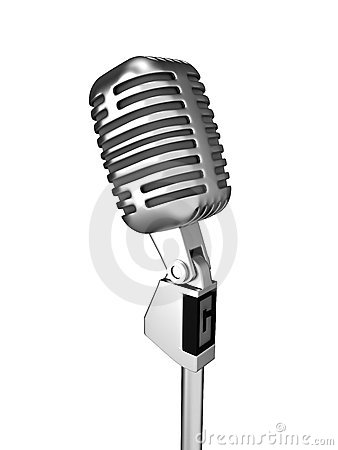 Retro metal microphone over white