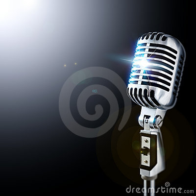 Free Retro Mic In Spotlight Royalty Free Stock Image - 1083906