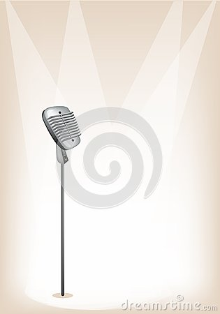 A Retro Microphone on Brown Stage Background
